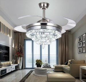 Luxury Crystal Ceiling Fans Light Remote Control Dimming Lighting 3 Rings 4 Ring Designed 42 Inch 110V 220V 30-60W