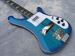 Electric Bass Guitar, Blue Ricken Neck Thru Body Guitar