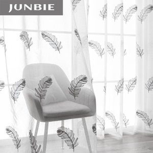 Curtain & Drapes JUNBIE Tulle Curtains For Living Room Bedroom Kitchen Feather Embroidery White Sheer Windows Volie Home Decor
