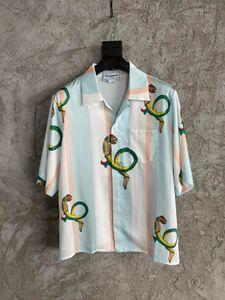 2021 Summer new fashion mens designer snake printing shirts ~ US SIZE shirts OVERSIZED ~ great mens designer short sleeve shirts