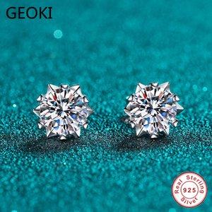 Geoki Passado Diamond Test Excelente Moissanite Snowflake Brincos 925 Sterling Prata Perfeito Cut 0,5-1 CT Stone Stud Studing Brincos 210323