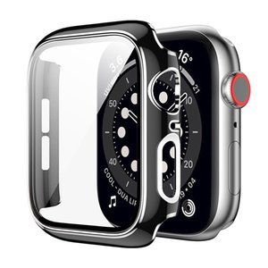 Plating Protective Cases for Apple Watch iWatch Series 6 5 4 3 2 1 with Tempered Glass Shockproof Cover