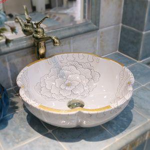 Flower Art Procelain Chinese Europe Vintage Style wash basin Ceramic Counter Top Wash Basin Bathroom Sinks bathroom sinkgood qty