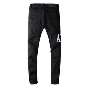 Luxurys Designer Mens Jeans Mark Slim Neg Batch Урожай дыра Мода Biker Causal Hip Hop Джинсовые высочайшие качества Брюки 29-40