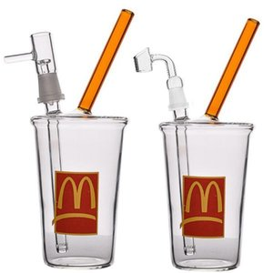 Mcdonald's Glass Bubbler Unique Hookahs Bong Smoking Water Pipes Heady Oil Rigs Cigarette Accessory With 14mm Joint 20.5cm tall