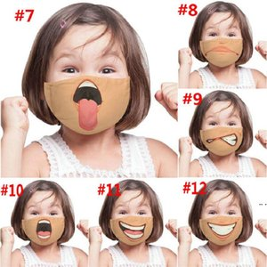 Unisex 3D Funny Face Printed Masks Adult Kids Windproof Washable Reusable Cotton Adjustable Mouth Mask HWA4424