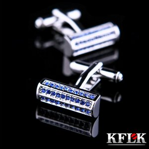 KFLK Jewelry shirt cuff links mens Brand Blue Crystal cufflinks Wholesale Button High Quality Luxury Wedding Groom guests Great workmanship durable and nice