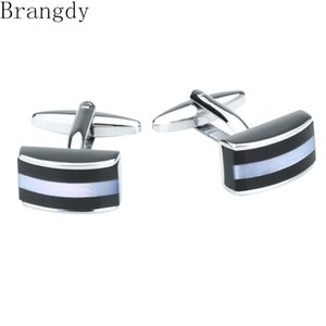 Cuff Link And Tie Clip Sets Brangdy Brand Men's French Business Cufflinks Black White Stitching Shell Luxury Shirt