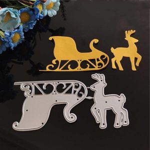 Painting Supplies Cutting Dies Christmas Deer Stencil Metal Cut Practice Hands-on DIY Scrapbooking Craft Die Santa's Sleigh
