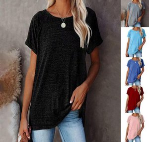 2021 Spring and Summer Europe and America New Hot Wish Explosive Round Collar Solid Color Loose Short Sleeve T-Shirt Women