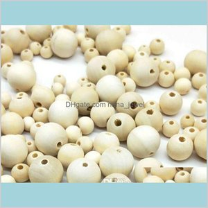 500Pcs Natural Round Loose Wood Beads Spacer Beads For Jewelry Making European Diy 6 8 10 12 14Mm Dij2D O7L8Q