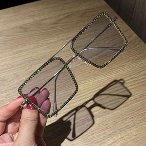 Fashion Transparent Square Sunglasses Metal Frame Women Overize Glasses Men Eyeglasses Frame Nerd Plain Glasses Clear Shades
