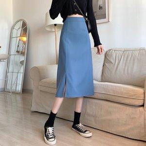 Весна и лето 2021 Новая кореенная высокая талия A-Line юбка для женщин