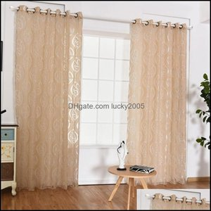 Deco El Supplies Home Gardenhome Decoration Living Room Curtains Window Treatments Jacquard Leaf Designer Gray Beige Coffee Curtain For Kitc
