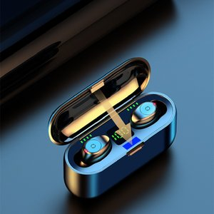 Wireless Earphones Bluetooth V5.0 F9 TWS headset HiFi stereo earbuds LED display touch control 2000mAh power bank NFC microphone Headphones black box