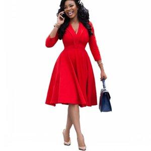 목 패션 우아한 슬림 사무실 드레스 여성 일하는 착용 3 분기 슬리브 하이 허리 플러스 사이즈 붉은 아프리카 의류 캐주얼 드레스