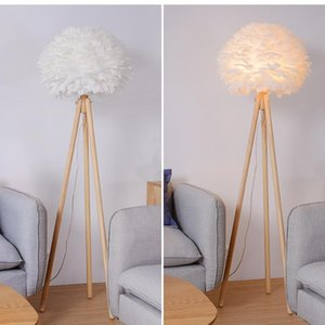 Nordic White Feather Wood Floor Lamp Tripod Stand Light Study Foyer Bedroom Standing Night Led Modern Bedside Lamps