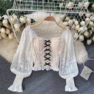 Рубашка шнурка слоеного рукава для женщин тонкий бюстье женский купальник корсет бантик леди подрубленные вершины носить 210513
