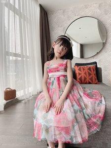 Hohe Qualität Blumen Kleid Für Baby Mädchen 2021 Sommer Kinder Mädchen Strand Kleider Hosenträger Party Kleid Kleidung