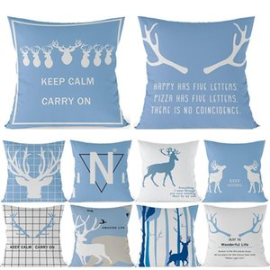 Pillow Case Blue Geometric Cushion Cover Deer Throw Pillows Polyester Plaid Decorative Pillowcase 45x45 Nordic Style Home Decor Cases