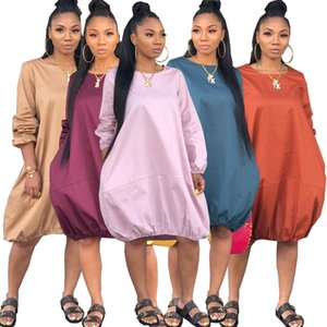 Casual Dresses European and American women's Plus Size dress Crew Neck Long Sleeve loose solid color pocket skirt S M L XL XXL