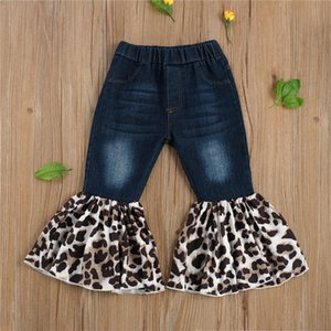 Wholesale Baby Girls Fall Winter Flare Denim Pants Bell Bottom Kids Boutique Fashionable Children Toddler Leopard Flared Jeans