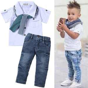 Children Clothing Toddler Baby Boys Clothes Summer T-shirt+Jeans Sports Suits For Boys Kids Clothes Tracksuit 2 5 6 7 Year 210326