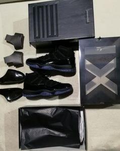 Cap и Pown Blackout 11s Prom Night 11 Real Carbon Carbon Fibre Top Quality Sight Gamma Blue Blue Midnight Navy Basketball Tooss Concord 11 с коробкой