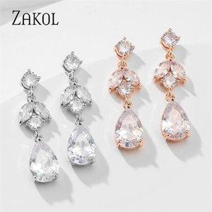 Luxury Classic Design Dazzling Cubic Zirconia Earring Female Accessories Wedding Earrings Jewelry FSEP5064 Dangle & Chandelier