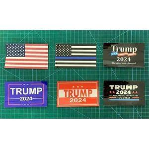 6 teile / satz Donald John Trump 2024 US-Wahlwagen-Aufkleber Zubehör Die amerikanische Nationalflagge gedruckt Paster-Aufkleber DHL G338ETW
