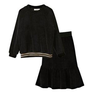 4 à 16 ans Enfants Adolescent Big Girls Blouse à manches longues en velours Noire avec Jupe à tablier de Poisson 2 pièces Ensemble Vêtements Velvet Vêtements 210729