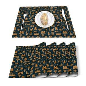 Table Runner 4 6pcs Texture Egypt Animal Pattern Kitchen Placemat Set Dining Mats Cotton Linen Pad Bowl Cup Mat Home Decor