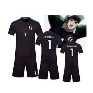 Capitão Tsubasa Costumes Wakabayashi Genzo Jersey Futebol Futebol Uniforme Quick Seco Tecido Criança Adulto Tamanho Cosplay Costume