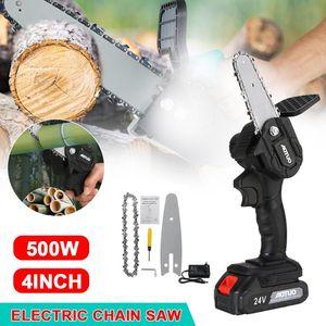 Электрическая цепная пила 550 Вт литиевая батарея Мини Обрезка однорукого садового инструмента с пилами аккумуляторные деревообрабатывающие ручные инструменты