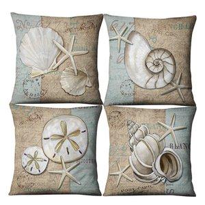 Shell Conch Marine Animal Linen Pillow Case Mediterranean Cushion