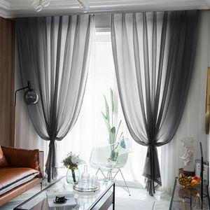 Curtain & Drapes Window Pure Color Door Drape Panel Sheer Scarf Valances Micro-Transparent Light-Weight Gauze Transmission