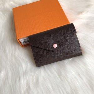 Topo Brown Flor / Verificado Victorine Wallet para Mulheres Multicolor Designer Curto Card Card Titular Clássico Zipper Bolso