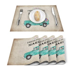Table Runner 4 6pcs Cyan Car Flower Hydrangea Retro Kitchen Placemat Set Dining Mats Cotton Linen Pad Bowl Cup Mat Home Decor