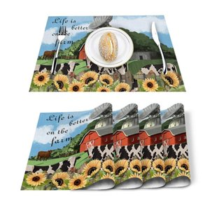 Table Runner 4 6pcs Farm Barn Cows Sunflower Kitchen Placemat Set Dining Mats Cotton Linen Pad Bowl Cup Mat Home Decor