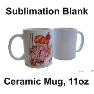 Sublimation Blanks Mug Personality Thermal Transfer Ceramic Mug 11oz White Water Cup Party Gifts Drinkware by sea RRB10923
