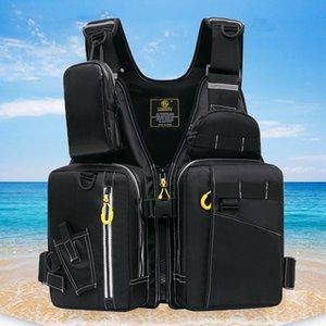 Life Vest & Buoy Men Professional Jacket Buoyancy Suit Portable Fishing Vests Multi-Pockets Waterproof Sea Adjustable -40