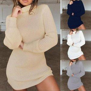 Casual Dresses Turtleneck Long Sleeve Sweater Dress Winter Warm Knitted Women Elastic Vestidos