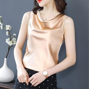 Women's Blouses & Shirts M-4XL Plus Size Bottoming Shirt Summer Satin Blouse Fashion Sleeveless Lady Vest Top Blusa Feminina