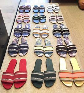 2021 Mode Dway Folien Schuh Frauen Slipper Amaranth Gestickte Baumwolle Strand Sommer Damen Outdoor Schuhe Luxurys Sandalen 35-42
