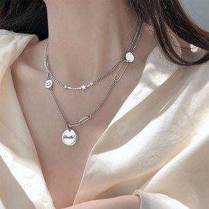 Colgantes de la estrella coreana del collar de la estrella de las mujeres 925 de la plata de la estrella de la estrella de la letra de la marca de la marca de la marca