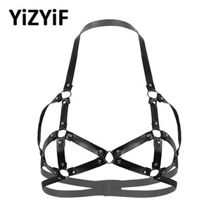Women Sexy Open Cups Bras Punk Gothic Faux Leather Erotic Lingerie Halter Neck Hollow Out Strappy Rivets Caged Bra Top