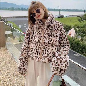 Women's Fur & Faux 2021 Winter Fashion Leopard Print Design Real Natural Rex Short Jacket High Quality Furry Coat