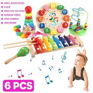 6pcs Baby Toy Music Instrument Toys Wooden Percussion Xylophone Maraca Rattles Kids Preschool Education Toys Birthday Present