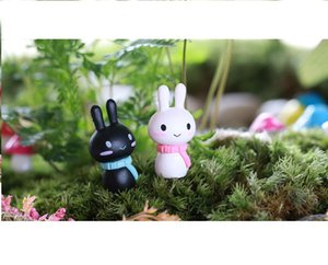 lovely mini cake toppers capsule toys white and black rabbit microlandschaft