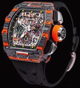 Relojes para hombre Reloj mecánico Chronograph Reloj de pulsera Correa de goma Luminoso reloj de pulsera Relojes de pulsera impermeable con hebilla plegable